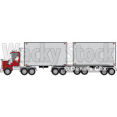 Clipart of a Christmas Santa Truck Driver Pulling a Double Trailer - Royalty Free Vector Illustration © djart #1274405
