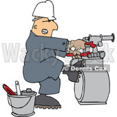Clipart of a Caucasian Gas Meter Man Struggling with a Double Wrench - Royalty Free Vector Illustration © djart #1275538