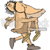 Clipart of a Hairy Caveman Carrying a Woman over His Shoulder - Royalty Free Vector Illustration © djart #1279573