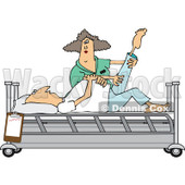 Clipart of a White Female Nurse Helping a Male Patient Stretch for Physical Therapy Recovery in a Hospital Bed - Royalty Free Vector Illustration © djart #1282611