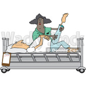 Clipart of a Black Female Nurse Helping a Caucasian Male Patient Stretch for Physical Therapy Recovery in a Hospital Bed - Royalty Free Vector Illustration © djart #1283184