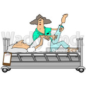 Clipart of a White Female Nurse Helping a White Male Patient Stretch for Physical Therapy Recovery in a Hospital Bed - Royalty Free Illustration © djart #1283185