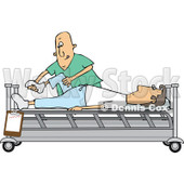 Clipart of a White Male Nurse Helping a Guy Patient Stretch for Physical Therapy Recovery in a Hospital Bed - Royalty Free Vector Illustration © djart #1283186
