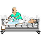 Clipart of a Caucasian Male Nurse Helping a Guy Patient Stretch for Physical Therapy Recovery in a Hospital Bed - Royalty Free Illustration © djart #1283188