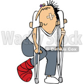 Clipart of a Caucasian Banged up Man with Bandages, Crutches, a Black Eye and Cast - Royalty Free Vector Illustration © djart #1283189
