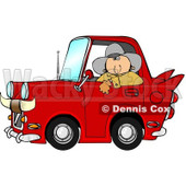 Clipart of a White Cowboy Looking out of the Window of His Red Vintage Car with Horns on the Front - Royalty Free Illustration © djart #1290064