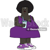 Clipart of a Chubby Black Woman in a Purple Dress, Holding a Fountain Soda - Royalty Free Vector Illustration © djart #1290764