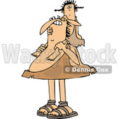 Clipart of a Chubby Caveman Father Carrying His Daughter on His Shoulders - Royalty Free Vector Illustration © djart #1291137