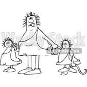 Lineart Clipart of a Black and White Mad Chubby Cavewoman Mom with Two Trouble Maker Children - Royalty Free Outline Vector Illustration © djart #1293824