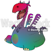 Clipart of a Gradient Colorful Dragon Walking to the Left - Royalty Free Illustration © djart #1293834