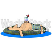 Drunk Man Passed Out or Sun Bathing on a Pool Float Clipart Illustration © djart #13047