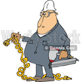 Clipart of a Cartoon Chubby White Male Construction Worker Holding a Nailer and Plug - Royalty Free Vector Illustration © djart #1305117