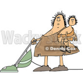 Clipart of a Cartoon Chubby Cavewoman Holding Her Son and Vacuuming - Royalty Free Vector Illustration © djart #1305938