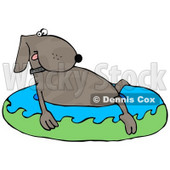 Cute Dog Soaking in a Kiddie Pool to Cool Off on a Hot Summer Day Clipart Illustration © djart #13232
