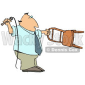 Man Holding a Whip and Chair While Taming a Lion Clipart Illustration © djart #13253