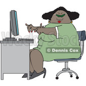 Clipart of a Cartoon Chubby Black Woman Wearing Glasses and Working at a Computer Desk - Royalty Free Vector Illustration © djart #1331425
