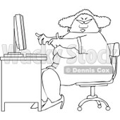 Lineart Clipart of a Cartoon Black and White Chubby African American Woman Wearing Glasses and Working at a Computer Desk - Royalty Free Outline Vector Illustration © djart #1331426