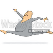 Clipart of a Cartoon Chubby White Man Leaping and Doing the Splits - Royalty Free Vector Illustration © djart #1334108
