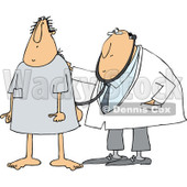 Clipart of a Cartoon White Male Medical Patient in an Open Back Hospital Gown, Getting a Checkup by a Doctor - Royalty Free Vector Illustration © djart #1334257