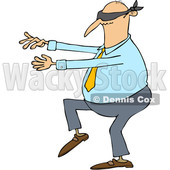 Clipart of a Cartoon Chubby White Business Man Walking Blindfolded with His Arms out - Royalty Free Vector Illustration © djart #1344205