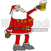 Clipart of a Cartoon Christmas Santa Claus Cheering and Holding up a Beer Mug - Royalty Free Vector Illustration © djart #1347286