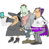 Clipart of a Cartoon Chubby Witch Taking a Selfie on a Cell Phone, with Frankenstine and a Dracula Vampire - Royalty Free Vector Illustration © djart #1347296