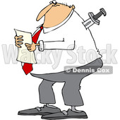 Clipart of a Cartoon Chubby Caucasian Businessman Reading a Document, with a Knife in His Back - Royalty Free Vector Illustration © djart #1350362