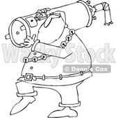Outline Clipart of a Cartoon Black and White Christmas Santa Carrying a Water Heater - Royalty Free Lineart Vector Illustration © djart #1353047