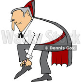 Clipart of a Cartoon Chubby Dracula Vampire Putting His Shoes on - Royalty Free Vector Illustration © djart #1355578