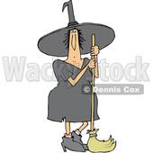 Clipart of a Cartoon Chubby Halloween Witch Standing with a Broom - Royalty Free Vector Illustration © djart #1355584