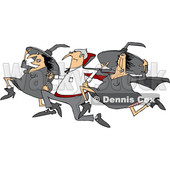 Clipart of a Cartoon Halloween Vampire Running with Witches - Royalty Free Vector Illustration © djart #1355845