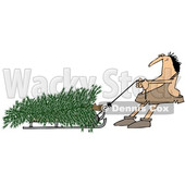 Clipart of a Cartoon Caveman Pulling a Christmas Tree on a Sled - Royalty Free Illustration © djart #1356460