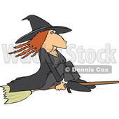 Clipart of a Red Haired Warty Witch Flying on a Broomstick - Royalty Free Vector Illustration © djart #1359739