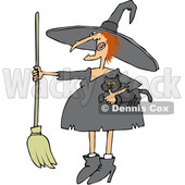 Clipart of a Cartoon Red Haired Chubby Witch Holding a Cat and a Broomstick - Royalty Free Vector Illustration © djart #1359740