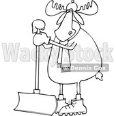 Clipart of a Cartoon Black and White Moose Wearing a Hat and Scarf and Standing with a Snow Shovel - Royalty Free Vector Illustration © djart #1360933