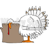 Clipart of a Cartoon White Thanksgiving Turkey Bird Laying His Head on a Chopping Block - Royalty Free Vector Illustration © djart #1361513