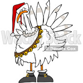 Clipart of a Cartoon White Christmas Turkey Bird Wearing a Santa Hat and Bell Sash - Royalty Free Vector Illustration © djart #1362426