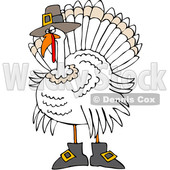 Clipart of a Cartoon White Thanksgiving Turkey Bird Wearing Boots and a Pilgrim Hat - Royalty Free Vector Illustration © djart #1362430