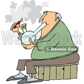 Clipart of a Cartoon Chubby White Senior Man Lighting a Bong to Smoke Weed - Royalty Free Vector Illustration © djart #1363046