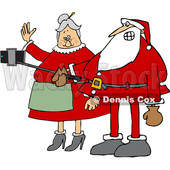 Clipart of a Cartoon Santa and Mrs Claus Taking a Selfie with a Stick and Smart Phone - Royalty Free Vector Illustration © djart #1370936
