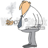 Clipart of a Cartoon Chubby White Business Man Smoking a Cigarette - Royalty Free Vector Illustration © djart #1373286