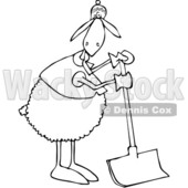 Cartoon Clipart of a Black and White Sheep Wearing Winter Apparel, Standing and Using a Snow Shovel - Royalty Free Vector Illustration © djart #1375140