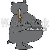 Cartoon Clipart of a Black Bear Standing Upright and Resting His Paws on His Full Belly - Royalty Free Vector Illustration © djart #1375290