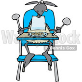 Cartoon Clipart of a Baby Lamb Sitting in a High Chair and Wearing a Bib - Royalty Free Vector Illustration © djart #1375293