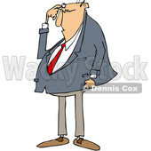 Clipart of a Cartoon Chubby Bald White Business Man Scratching His Head and Looking Puzzled - Royalty Free Vector Illustration © djart #1384317