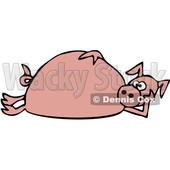 Clipart of a Cartoon Pink Pig Laying on His Side - Royalty Free Vector Illustration © djart #1389339