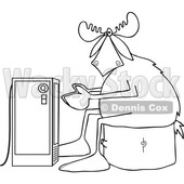 Clipart of a Black and White Lineart Cold Moose Sitting on a Stump and Warming up in Front of an Electric Space Heater - Royalty Free Vector Illustration © djart #1402905