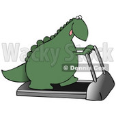 Green Dino Exercising on a Treadmill Machine in a Fitness Gym Clipart Illustration © djart #14062
