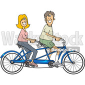 Cartoon Clipart of a Happy Caucasian Couple Riding a Blue Tandem Bicycle - Royalty Free Vector Illustration © djart #1409766