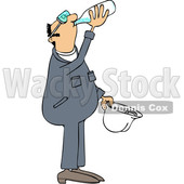 Clipart of a Cartoon Thirsty Caucasian Male Worker Wearing Coveralls and Drinking Water - Royalty Free Vector Illustration © djart #1419198